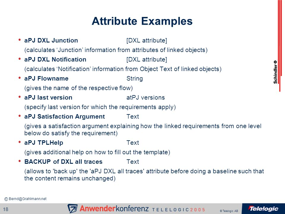 Attribute Examples aPJ DXL Junction [DXL attribute]